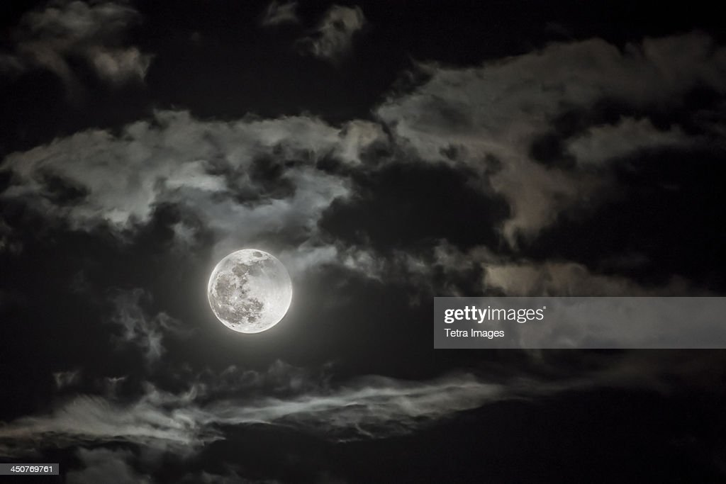 Dramatic sky with full moon