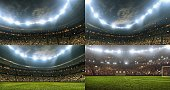 Full 3d modelled soccer stadium with lights. Four different angles.