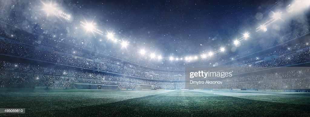 Dramatic soccer stadium panorama