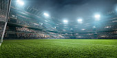Dramatic soccer stadium with football goal, green grass and bleachers full of people. Grass, lights stadium, and all other elements are made in 3D.