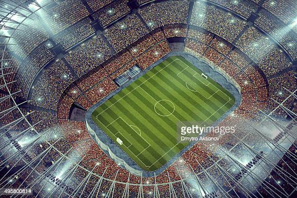 Dramatic soccer stadium upper view