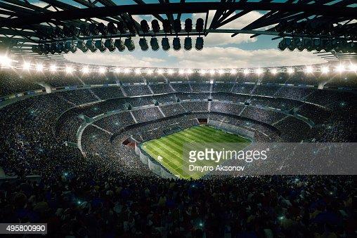 Dramatic soccer stadium upper view
