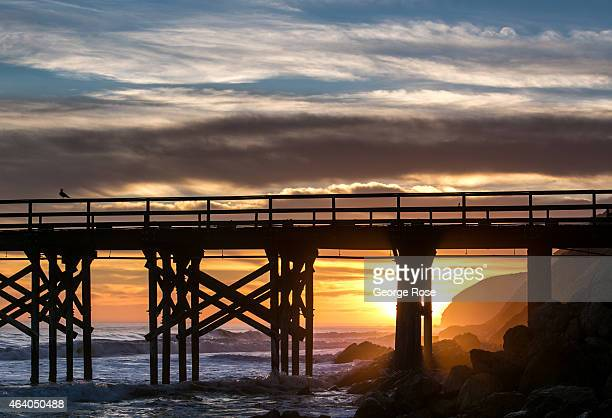 A dramatic sunset along the pier and beach at Gaviota State Beach ends another warm day on February 10 near Santa Barbara California Because of its...