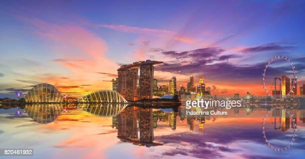 Dramatic sunset and Singapore skyline
