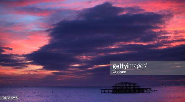 A dramatic sunset illuminates the evening sky over the seaside resort Brighton which is hosting the Labour Party Conference on September 28 2009 in...