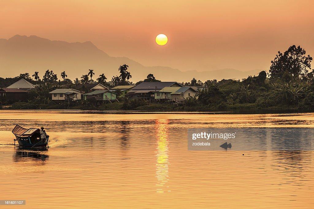 Dramatic Sunset on the River, Borneo