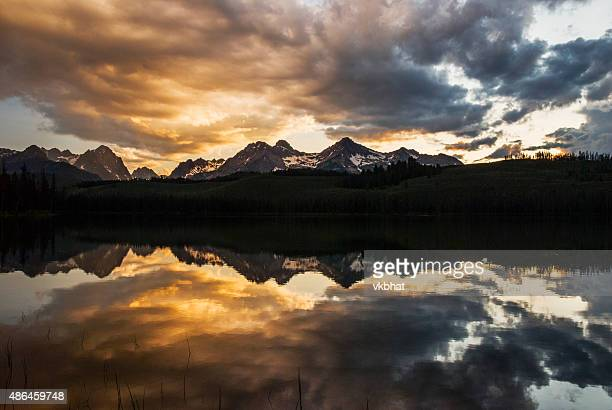 Dramatic Sunset over Sawtooth Mountain Range in Stanley Idaho