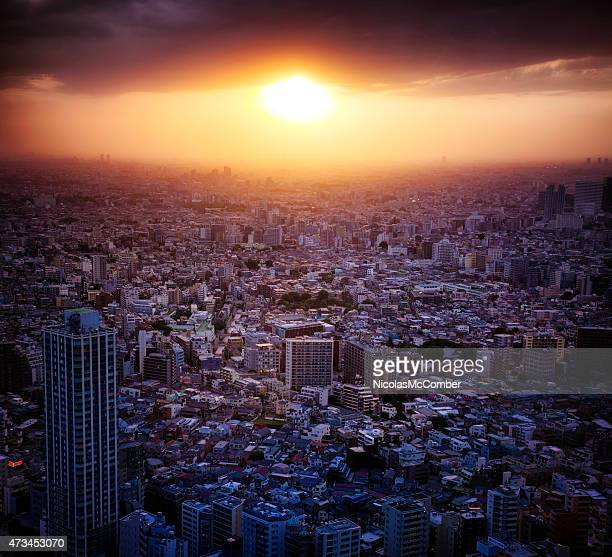 Dramatic sunset over Tokyo Nishishinjuku area aerial view