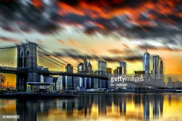 Dramatic sunset sky over the Manhattan skyline