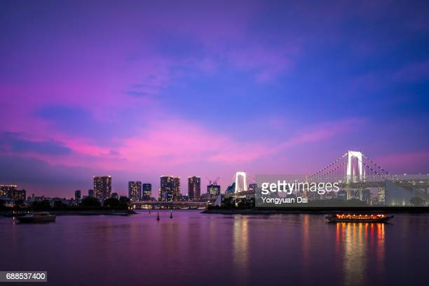 Dramatic Sunset with Rainbow Bridge and Tokyo Cityscape