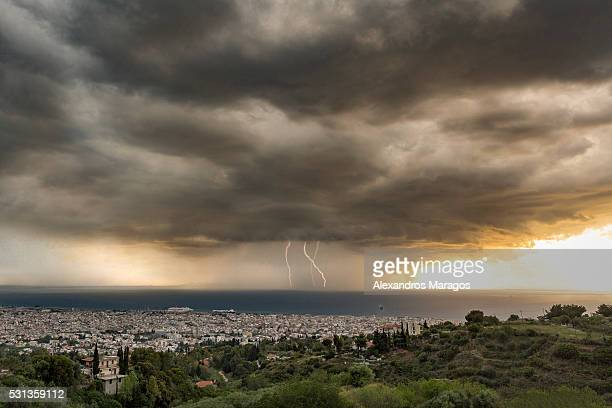 Dramatic Thunderstorm Cloud with Lightnings over Patras, Greece