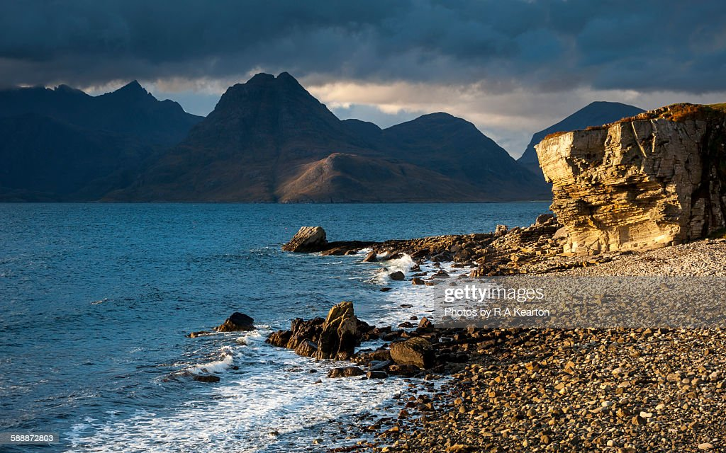 Rocks on the beach, Elgol Beach, Elgol, view of Cuillins Hills ...