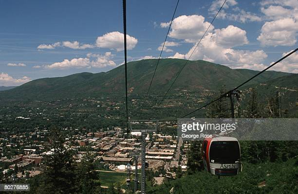 A dramatic view looking back at the ski village from the aerial tram is viewed in this 2007 Aspen Colorado summer photo