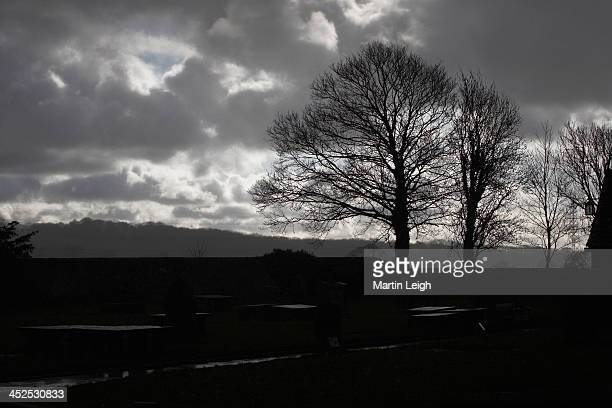 Dramatic winter sky with silhouetted landscape