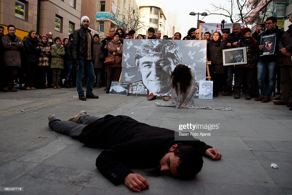 Dramatization for the murder of <a gi-track='captionPersonalityLinkClicked' href=/galleries/search?phrase=Hrant+Dink&family=editorial&specificpeople=741548 ng-click='$event.stopPropagation()'>Hrant Dink</a>, Several thousand protesters in Ankara's Kizilay Square marked the anniversary of <a gi-track='captionPersonalityLinkClicked' href=/galleries/search?phrase=Hrant+Dink&family=editorial&specificpeople=741548 ng-click='$event.stopPropagation()'>Hrant Dink</a>'s killing. Attendees chanted 'We are all <a gi-track='captionPersonalityLinkClicked' href=/galleries/search?phrase=Hrant+Dink&family=editorial&specificpeople=741548 ng-click='$event.stopPropagation()'>Hrant Dink</a>' and 'Murderer state will account for this'. Turkish-Armenian journalist <a gi-track='captionPersonalityLinkClicked' href=/galleries/search?phrase=Hrant+Dink&family=editorial&specificpeople=741548 ng-click='$event.stopPropagation()'>Hrant Dink</a> was shot dead in 2007 in front of the Agos newspaper in Istanbul. Ogun Samast, who was 17 at the time of the killing, was sentenced to 23 years in prison for having committed the murder.