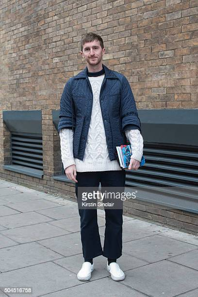 Drapers fashion editor Graeme Moran wears a Craig Green jacket Maison Margiela jumper vintage trousers and Vans shoes on day 3 of London Collections...