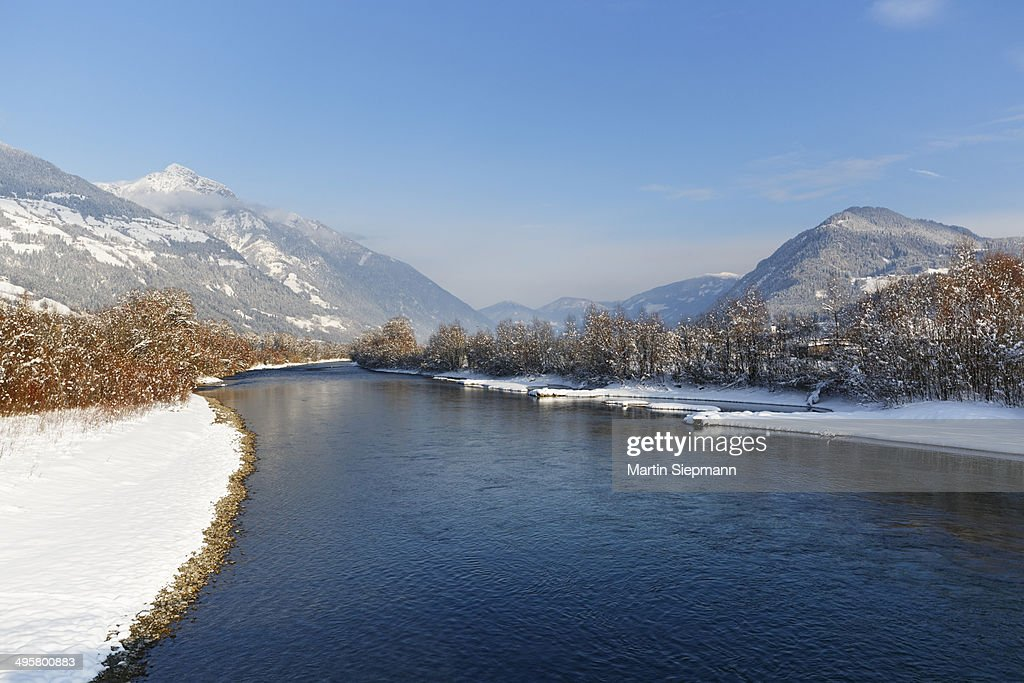 Drava River in winter, Greifenburg, Drautal, Carinthia, Austria