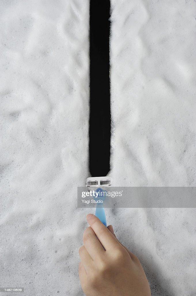 Draw a line,Shaving foam : Stock Photo