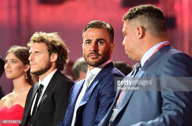 Draw assistant Diego Forlan Draw assistant Fabio Cannavaro and Draw assistant Ronaldo attend the Preliminary Draw of the 2018 FIFA World Cup in...