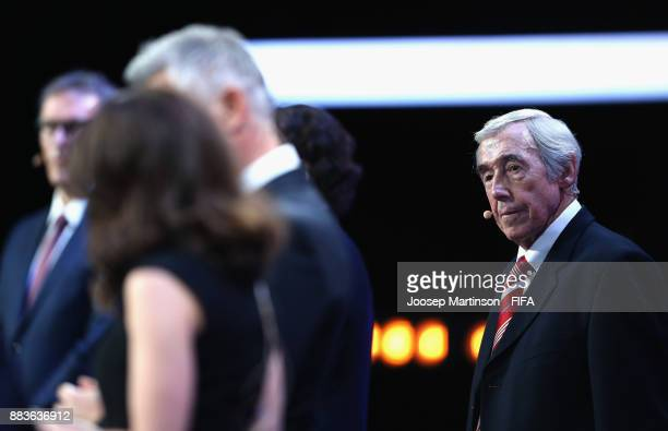 Draw assistant Gordon Banks looks on during the Final Draw for the 2018 FIFA World Cup Russia at the State Kremlin Palace on December 1 2017 in...