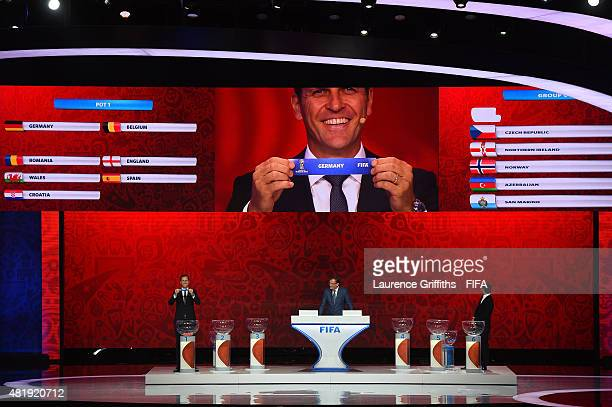 Draw assistant Oliver Bierhoff holds up the name Germany during the European Zone draw at the Preliminary Draw of the 2018 FIFA World Cup in Russia...