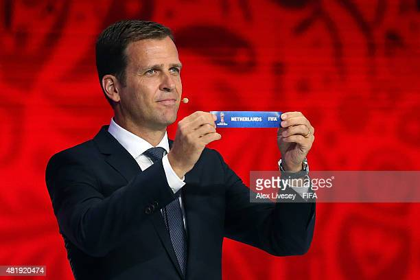 Draw assistant Oliver Bierhoff holds up the name Netherlands during the European Zone draw at the Preliminary Draw of the 2018 FIFA World Cup in...