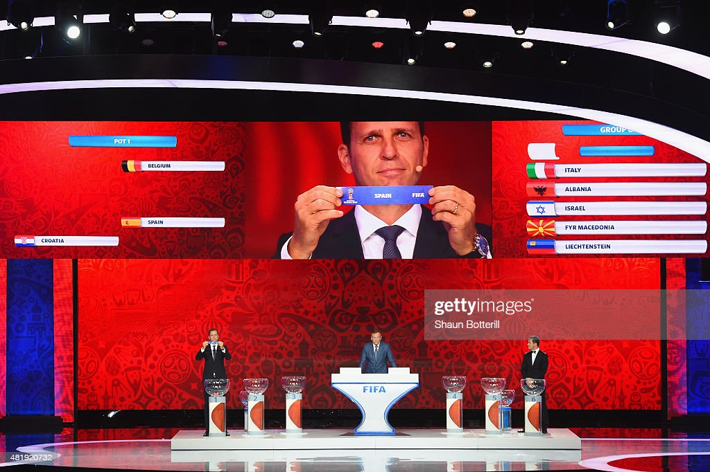 Draw assistant Oliver Bierhoff holds up the name Spain during the European Zone draw at the Preliminary Draw of the 2018 FIFA World Cup in Russia at The Konstantin Palace on July 25, 2015 in Saint Petersburg, Russia.