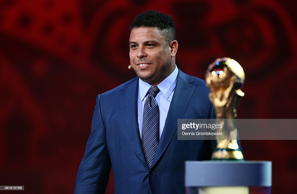 Draw assistant Ronaldo smiles during the South American Zone draw at the Preliminary Draw of the 2018 FIFA World Cup in Russia at The Konstantin Palace on July 25, 2015 in Saint Petersburg, Russia.