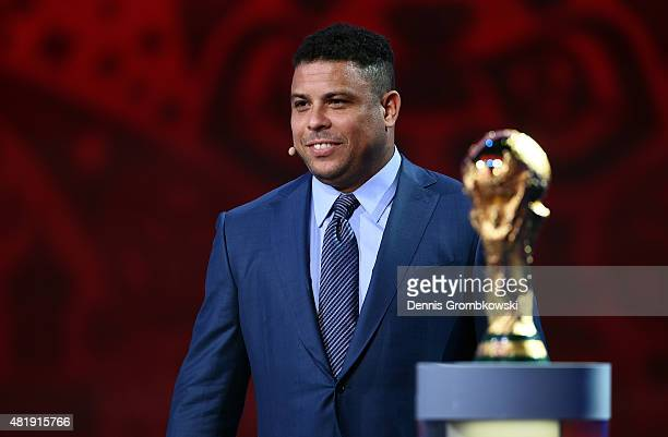 Draw assistant Ronaldo smiles during the South American Zone draw at the Preliminary Draw of the 2018 FIFA World Cup in Russia at The Konstantin...