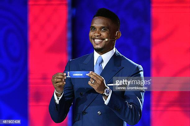 Draw assistant Samuel Eto'o draws Cameroon in African Zone draw at the Preliminary Draw of the 2018 FIFA World Cup in Russia at The Konstantin Palace...