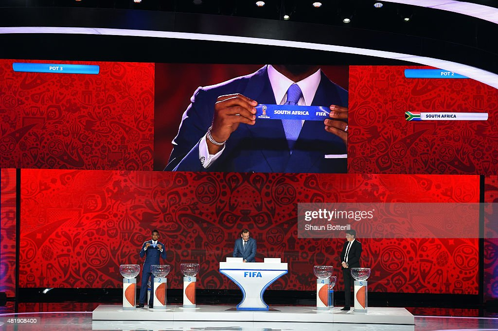 Draw assistant Samuel Eto'o draws South Africa in African Zone draw at the Preliminary Draw of the 2018 FIFA World Cup in Russia at The Konstantin Palace on July 25, 2015 in Saint Petersburg, Russia.