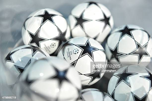 Draw balls are prepared for the UEFA Champions League 2013/14 season quarterfinals draw at the UEFA headquarters The House of European Football on...