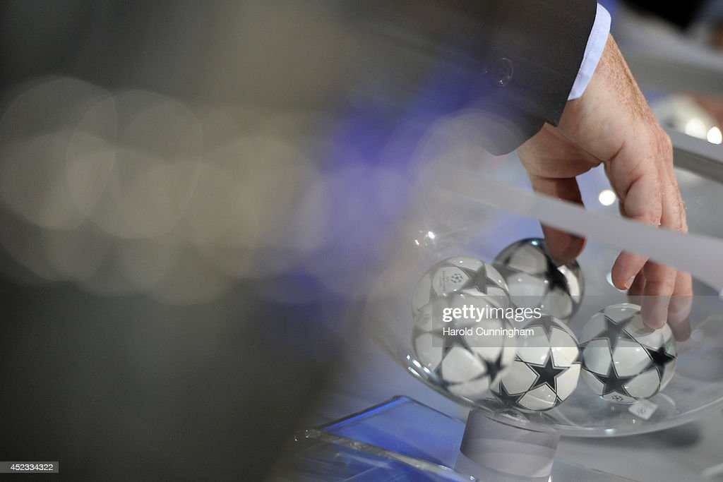 Draw balls are shuffled during the UEFA 2014/15 Champions League third qualifying rounds draw rehersal at the UEFA headquarters, The House of European Football, on July 18, 2014 in Nyon, Switzerland.