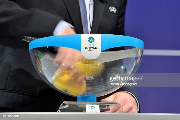Draw balls are shuffled during the UEFA 2014/15 Futsal Cup Preliminary and Main Round Draw at the UEFA headquarters The House of European Football on...