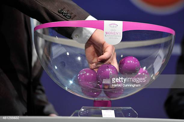 Draw balls are shuffled during the UEFA 2014/15 Women's Champions League Qualifying Round draw at the UEFA headquarters The House of European...