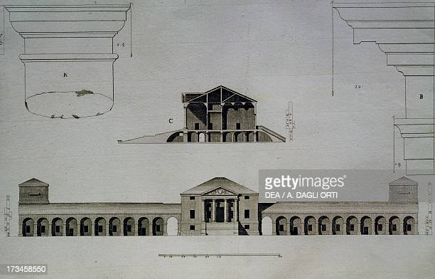 Drawing and section of Villa Emo Capodilista near Padua engraving by Ottavio BertottiScamozzi from The Buildings and Designs of Andrea Palladio...