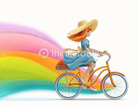 Drawing Beautiful Girl Riding A Bike Stock Photo Thinkstock