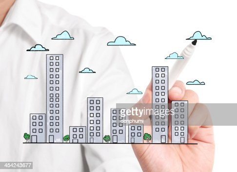 drawing Buildings : Stock Photo
