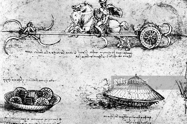 Drawing by da Vinci from his book on submarines and inventions Undated