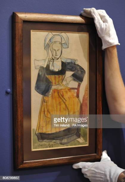 A drawing by Emile Bernard dated 1888 titled Young Breton Woman is viewed at The Wallace Collection in London as part of their exhibition Poussin to...
