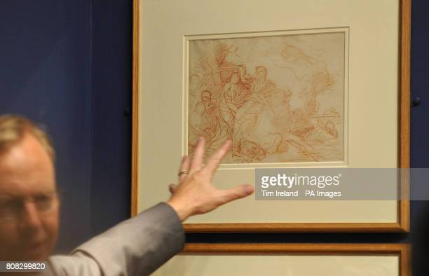 A drawing by Francois Boucher dated c1747 called The Rape of Europe is viewed at The Wallace Collection in London as part of their exhibition Poussin...