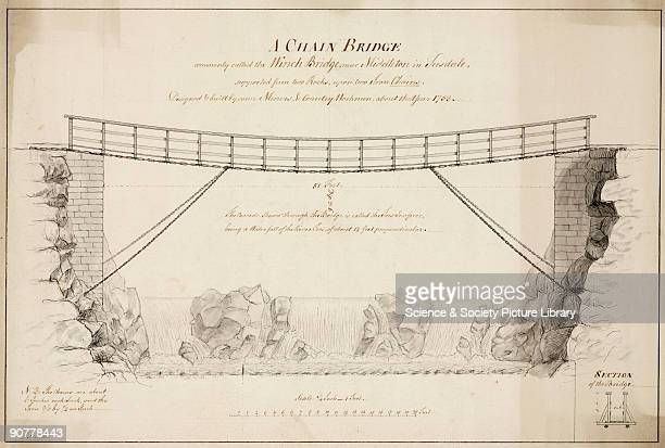 Drawing by J S of �A Chain Bridge commonly called the Winch bridge near Middleton in Teesdale supported from two Rocks upon two Iron Chains Designed...