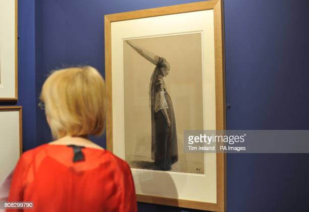 A drawing by Louis Roguin title Jewish Woman of Algiers dated 1843 is viewed at The Wallace Collection in London as part of their exhibition Poussin...