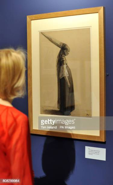 A drawing by Louis Roguin titled Jewish Woman of Algiers dated 1843 is viewed at The Wallace Collection in London as part of their exhibition Poussin...