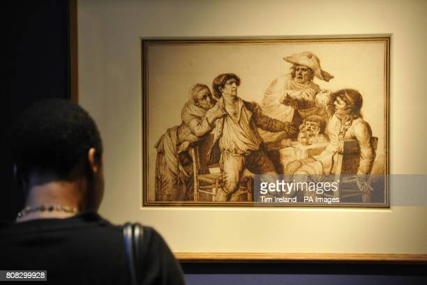 A drawing by PierreAlexandre Wille dated 1784 called A Tavern Brawl is viewed at The Wallace Collection in London as part of their exhibition Poussin...