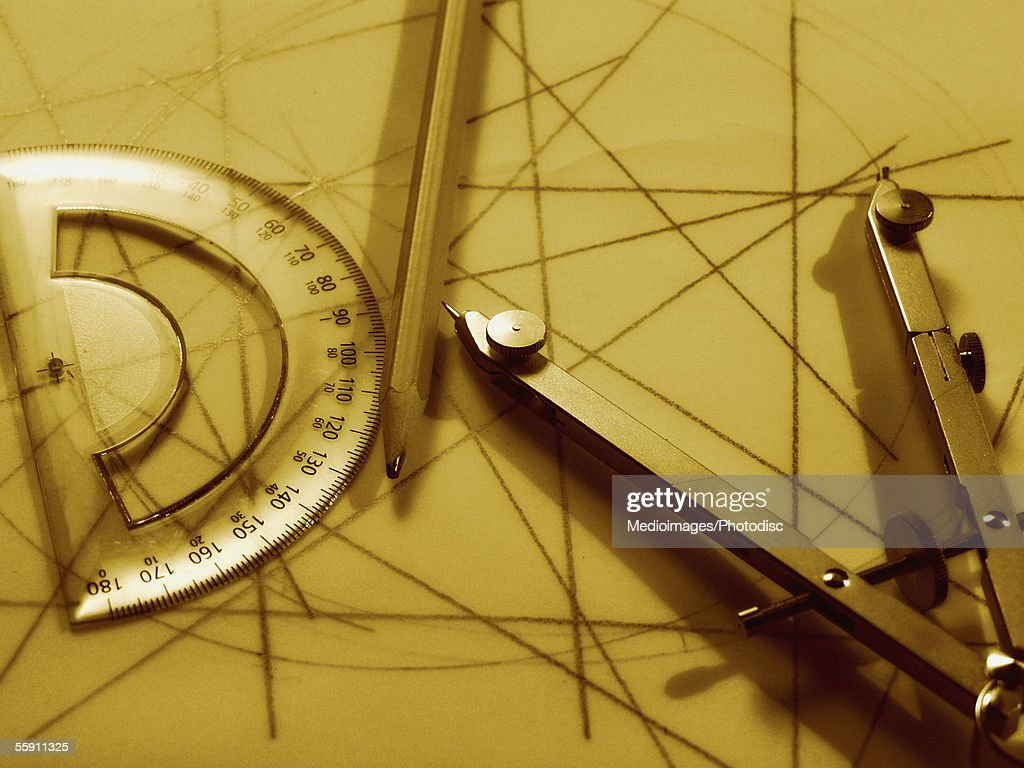 Drawing compass, protractor and pencil