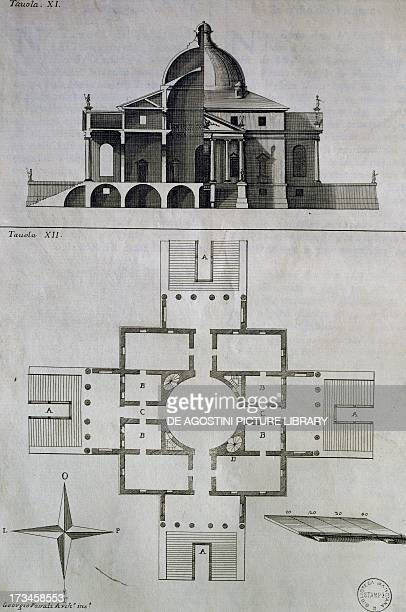 Drawing crosssection and plan of Villa Almerico Capra also known as La Rotonda near Vicenza engraving by Francesco Muttoni from Architecture of...