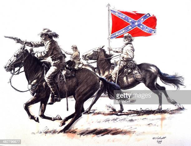 A drawing depicting Confederate cavalry soldiers during the US Civil War circa 1860