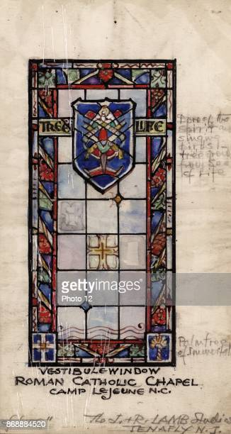 Drawing for a stained glass vestibule window depicting the Tree of Life for Francis Xavier Roman Catholic Chapel in Camp Lejeune North Carolina Dated...
