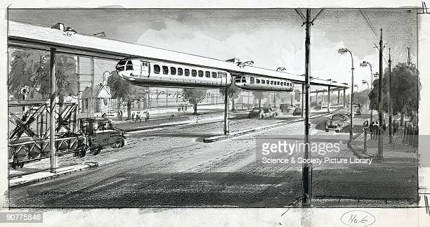 Drawing in crayon pencil ink and monochrome wash by Cavendish Morton showing a town monorail system Below the singletrack monorail is a heavy goods...